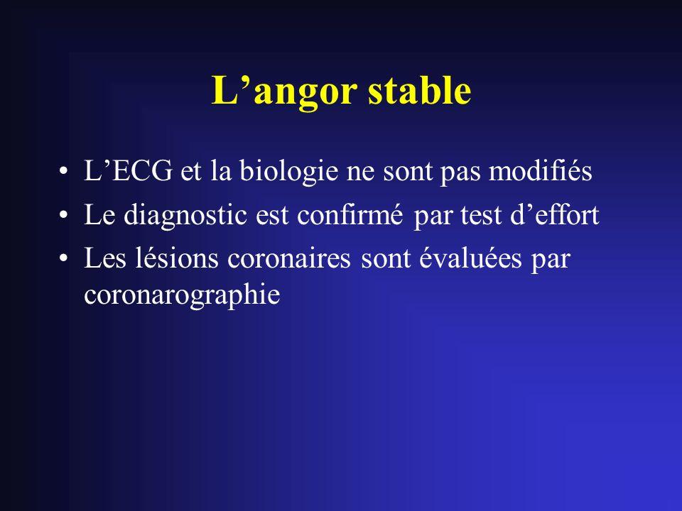 LECG et la biologie ne sont pas modifiés Le diagnostic est confirmé par test deffort Les lésions coronaires sont évaluées par coronarographie