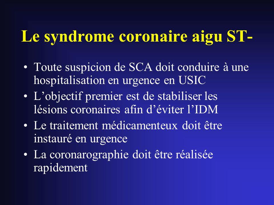 Le syndrome coronaire aigu ST- Toute suspicion de SCA doit conduire à une hospitalisation en urgence en USIC Lobjectif premier est de stabiliser les l