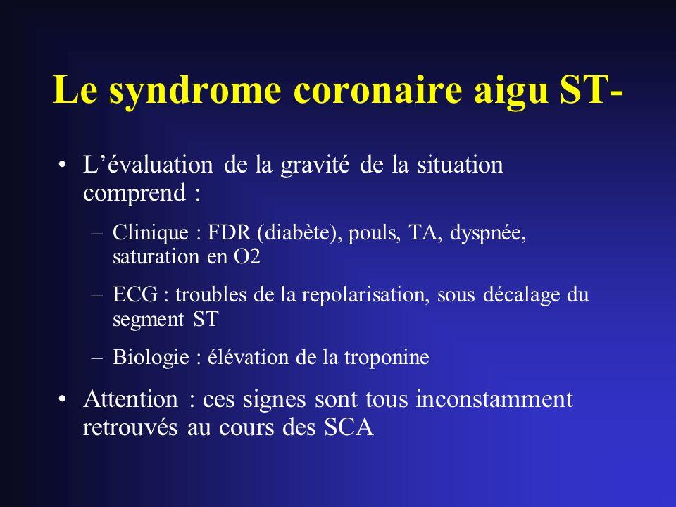 Le syndrome coronaire aigu ST- Lévaluation de la gravité de la situation comprend : –Clinique : FDR (diabète), pouls, TA, dyspnée, saturation en O2 –E