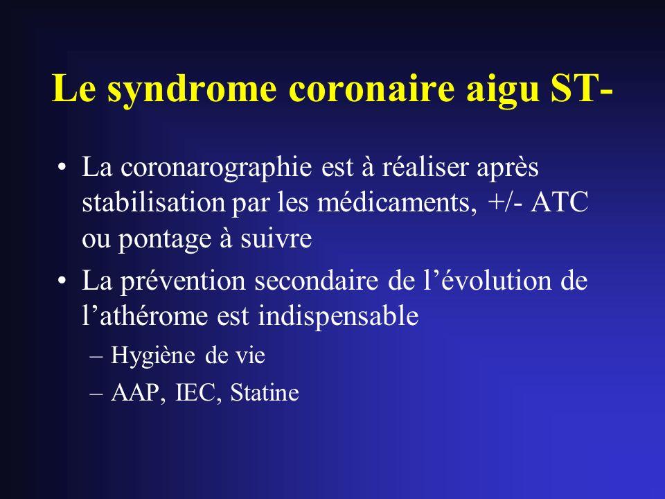 Le syndrome coronaire aigu ST- La coronarographie est à réaliser après stabilisation par les médicaments, +/- ATC ou pontage à suivre La prévention se