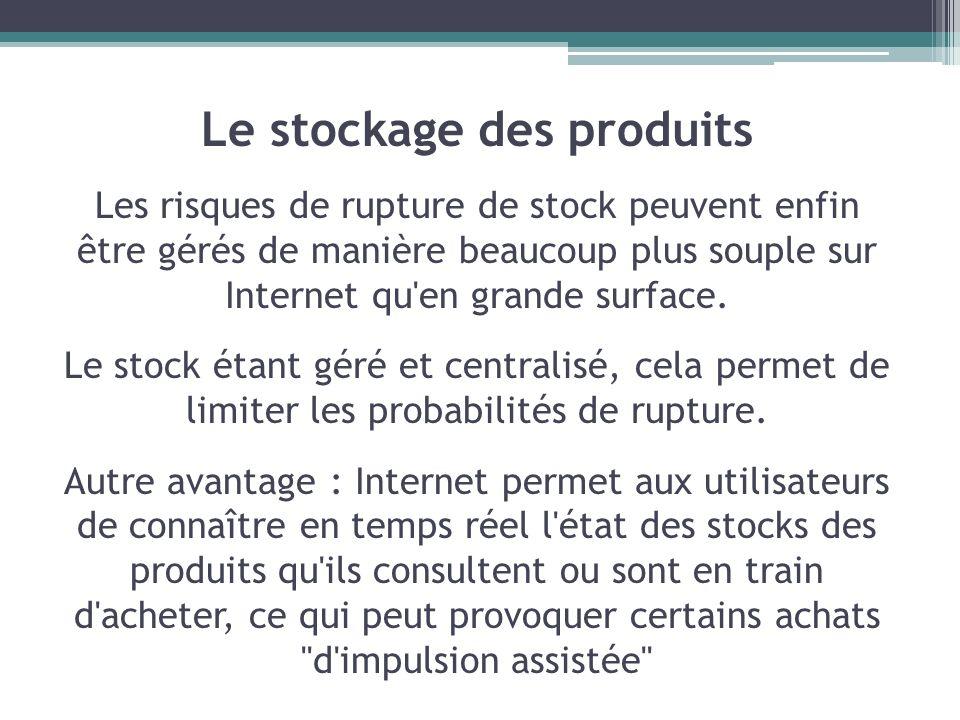 Le stockage des produits Les risques de rupture de stock peuvent enfin être gérés de manière beaucoup plus souple sur Internet qu'en grande surface. L