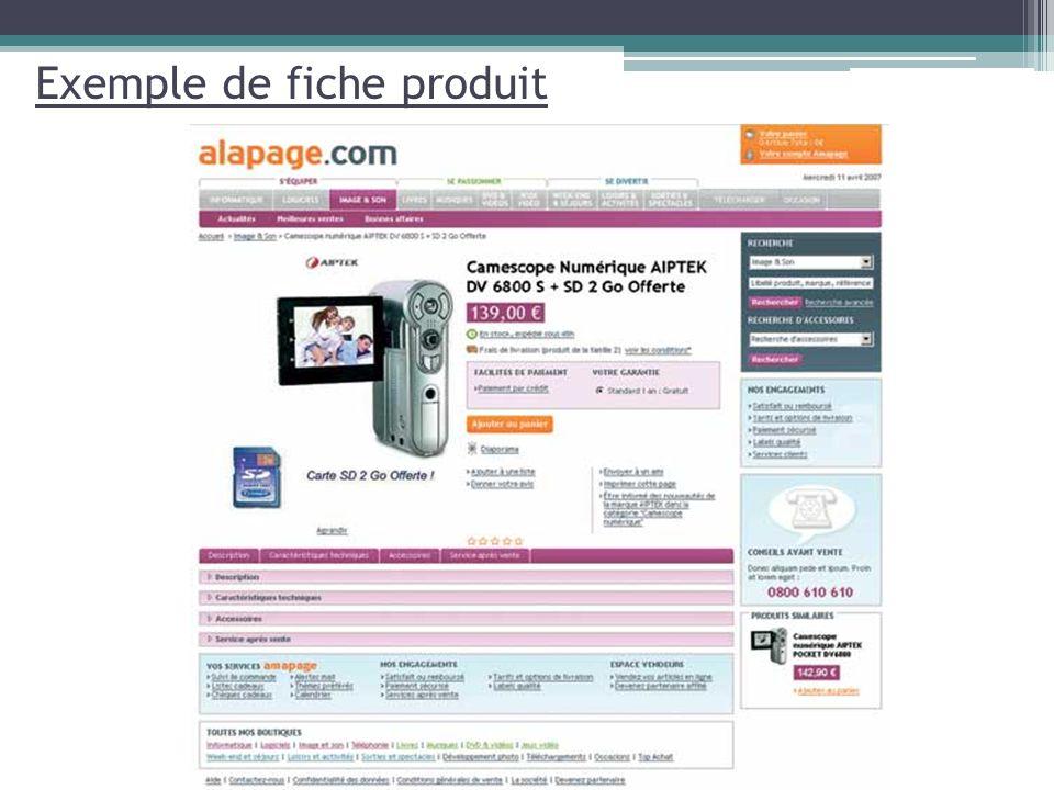 Exemple de fiche produit