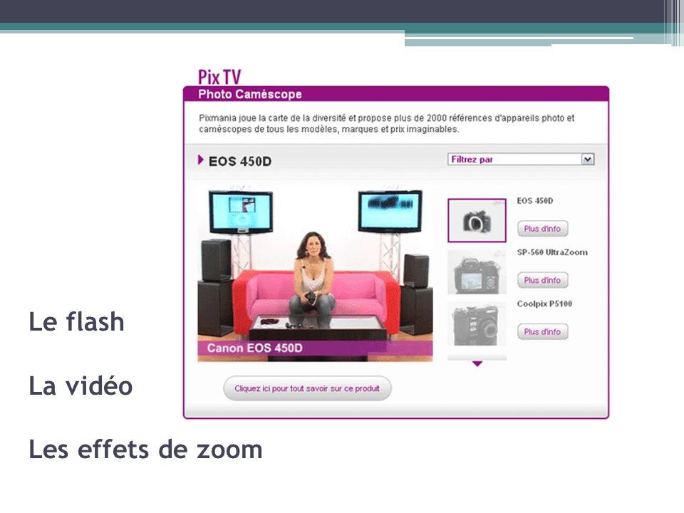 Le flash La vidéo Les effets de zoom
