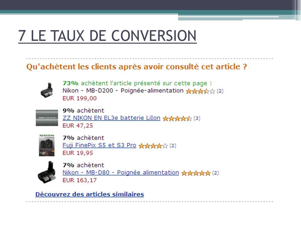7 LE TAUX DE CONVERSION
