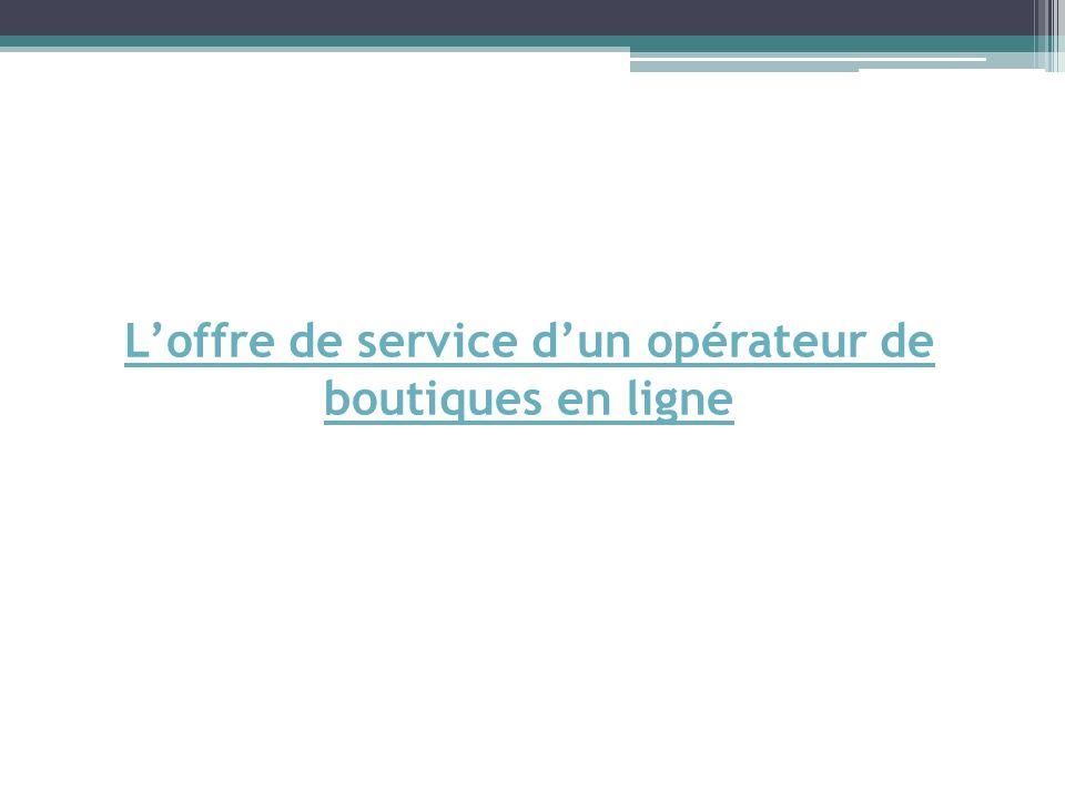 Loffre de service dun opérateur de boutiques en ligne