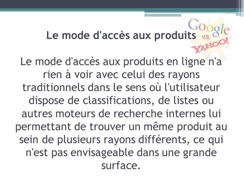 Le mode d'accès aux produits Le mode d'accès aux produits en ligne n'a rien à voir avec celui des rayons traditionnels dans le sens où l'utilisateur d
