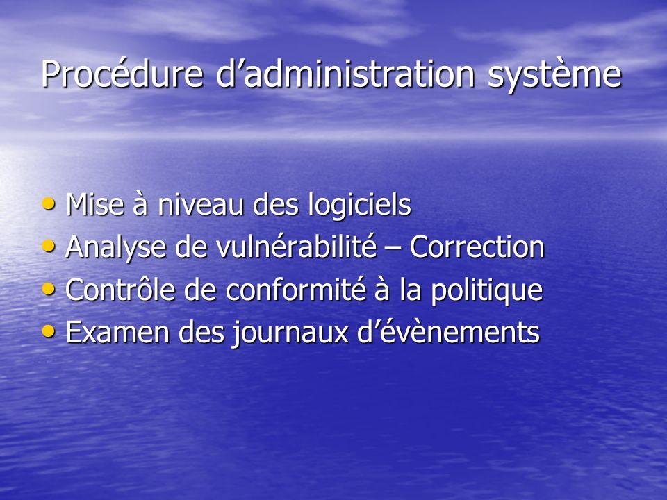 Procédure dadministration système Mise à niveau des logiciels Mise à niveau des logiciels Analyse de vulnérabilité – Correction Analyse de vulnérabili