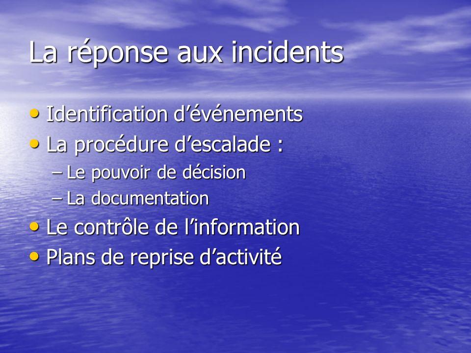 La réponse aux incidents Identification dévénements Identification dévénements La procédure descalade : La procédure descalade : –Le pouvoir de décisi