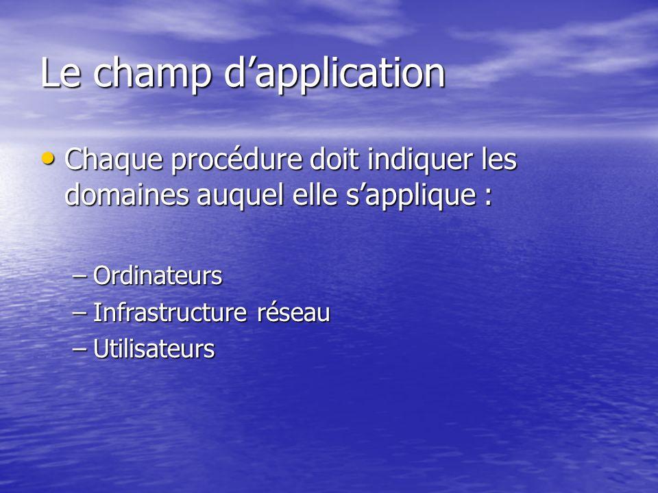 Le champ dapplication Chaque procédure doit indiquer les domaines auquel elle sapplique : Chaque procédure doit indiquer les domaines auquel elle sapp