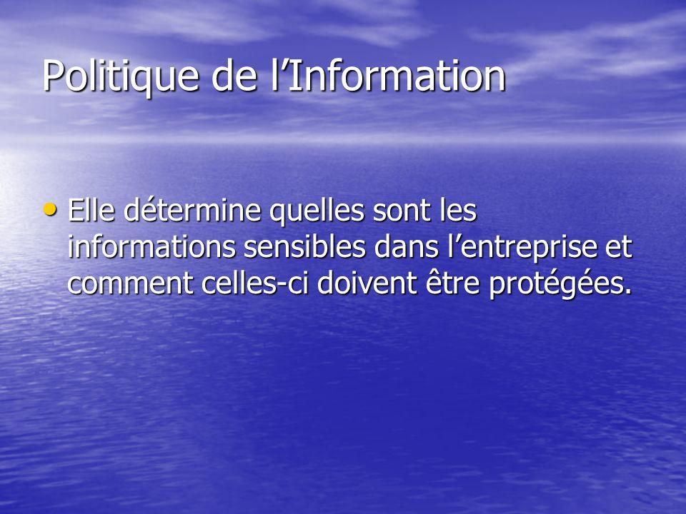 Politique de lInformation Identification des Informations Sensibles Identification des Informations Sensibles Deux ou Trois niveaux de classification : Deux ou Trois niveaux de classification : –Publiques –Exclusives, Sensibles ou confidentielles –Limitées ou protégées