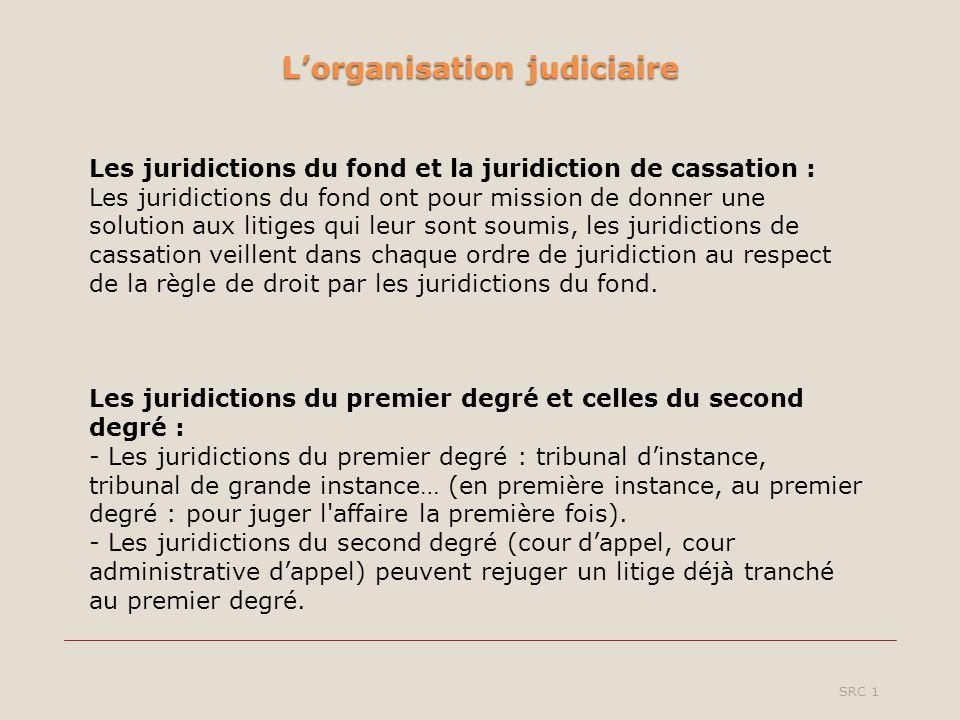 Lorganisation judiciaire SRC 1 Les juridictions du fond et la juridiction de cassation : Les juridictions du fond ont pour mission de donner une solution aux litiges qui leur sont soumis, les juridictions de cassation veillent dans chaque ordre de juridiction au respect de la règle de droit par les juridictions du fond.