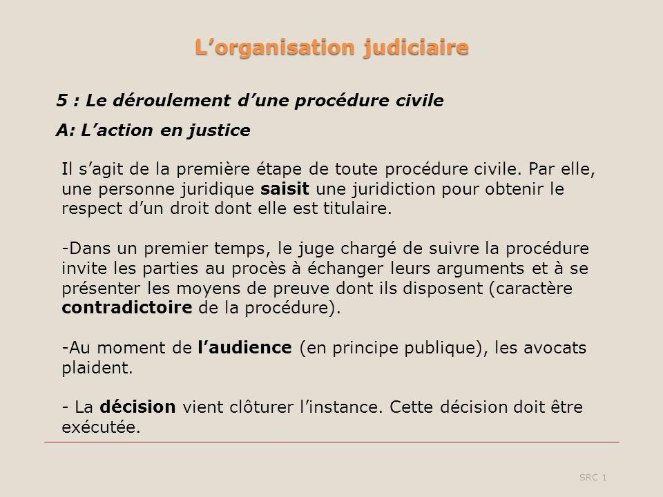 Lorganisation judiciaire SRC 1 5 : Le déroulement dune procédure civile A: Laction en justice Il sagit de la première étape de toute procédure civile.