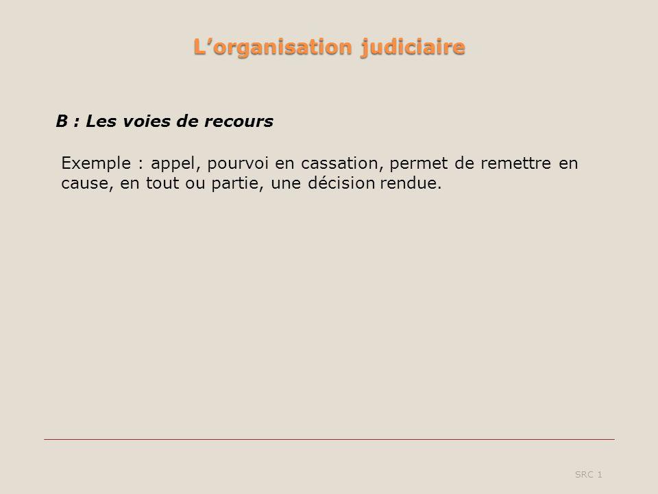 Lorganisation judiciaire SRC 1 B : Les voies de recours Exemple : appel, pourvoi en cassation, permet de remettre en cause, en tout ou partie, une décision rendue.
