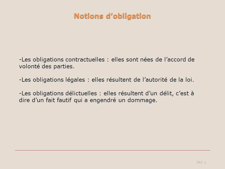 Notions dobligation SRC 1 -Les obligations contractuelles : elles sont nées de laccord de volonté des parties. -Les obligations légales : elles résult