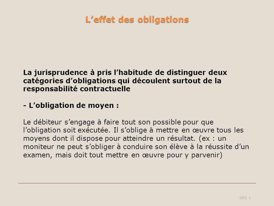 Leffet des obligations SRC 1 La jurisprudence à pris lhabitude de distinguer deux catégories dobligations qui découlent surtout de la responsabilité c