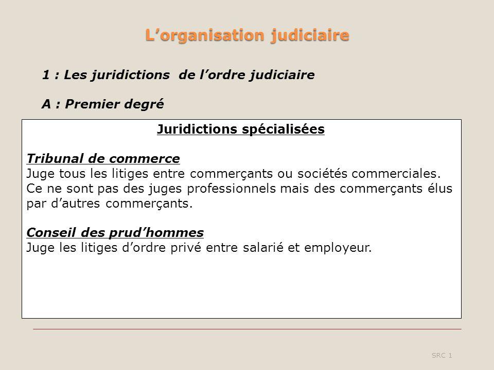 Lorganisation judiciaire SRC 1 Juridictions spécialisées Tribunal de commerce Juge tous les litiges entre commerçants ou sociétés commerciales.