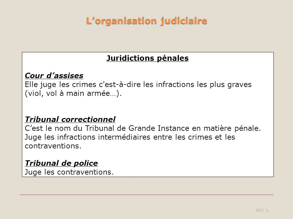 Lorganisation judiciaire SRC 1 Juridictions pénales Cour dassises Elle juge les crimes c est-à-dire les infractions les plus graves (viol, vol à main armée…).