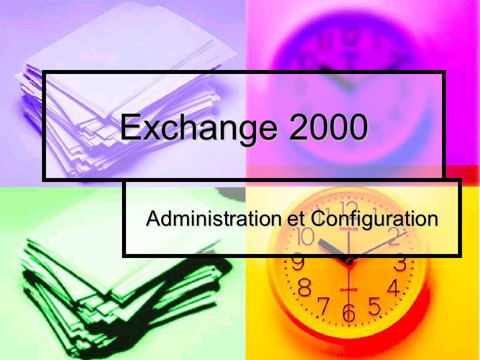 Installation Windows 2000 Server avec Active Directory 256 Mo de Ram minimum Pentium III 1 Ghz minimum Espace disque en fonction des boîtes aux lettres Unité et logiciel de Sauvegarde Antivirus dédié aux mails Configuration requise