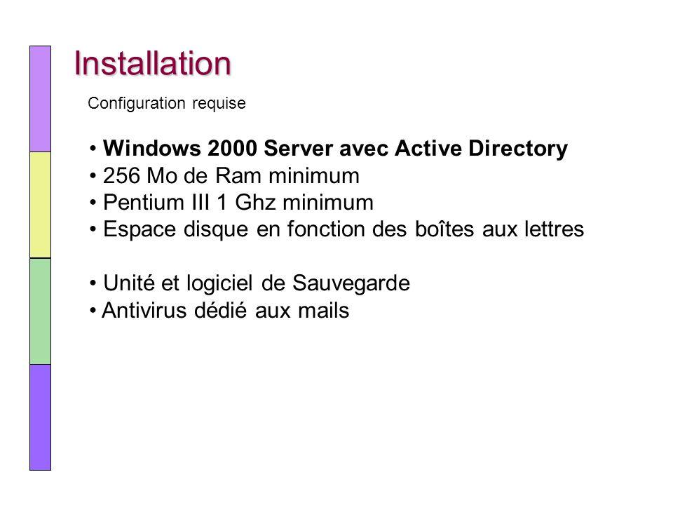 Installation Windows 2000 Server avec Active Directory 256 Mo de Ram minimum Pentium III 1 Ghz minimum Espace disque en fonction des boîtes aux lettre