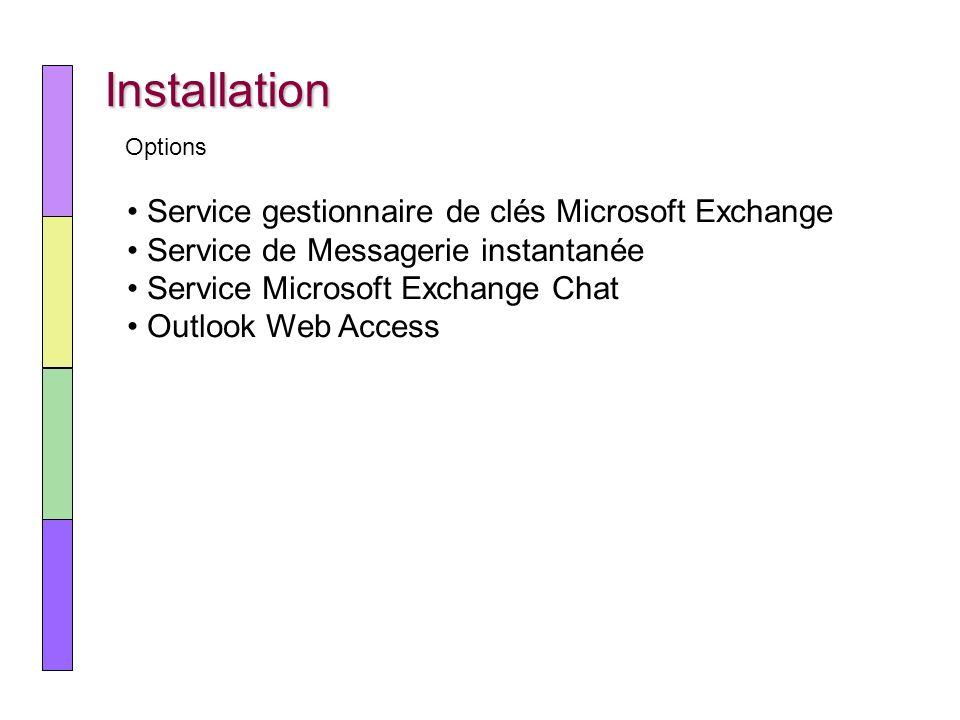 Installation Service gestionnaire de clés Microsoft Exchange Service de Messagerie instantanée Service Microsoft Exchange Chat Outlook Web Access Opti