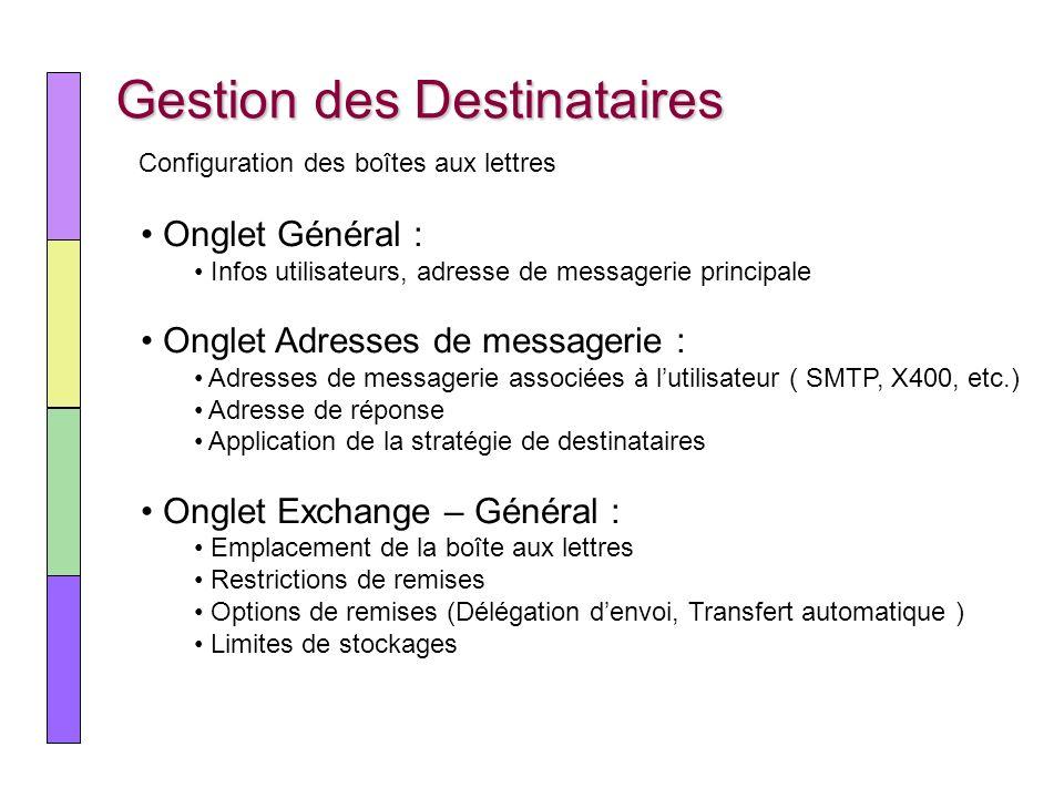 Gestion des Destinataires Onglet Général : Infos utilisateurs, adresse de messagerie principale Onglet Adresses de messagerie : Adresses de messagerie