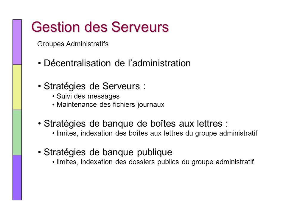 Gestion des Serveurs Décentralisation de ladministration Stratégies de Serveurs : Suivi des messages Maintenance des fichiers journaux Stratégies de b
