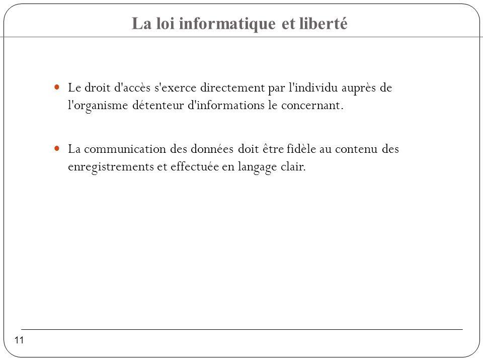 La loi informatique et liberté 11 Le droit d accès s exerce directement par l individu auprès de l organisme détenteur d informations le concernant.