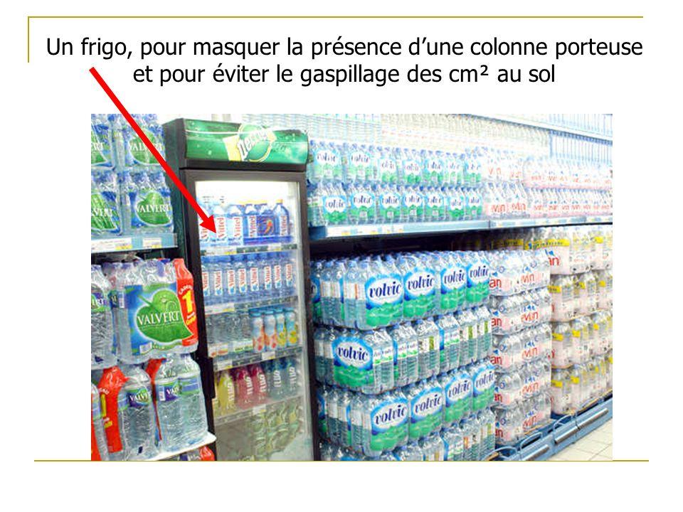 Un frigo, pour masquer la présence dune colonne porteuse et pour éviter le gaspillage des cm² au sol