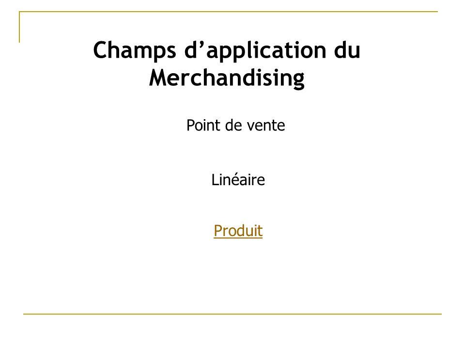 Champs dapplication du Merchandising Produit Linéaire Point de vente