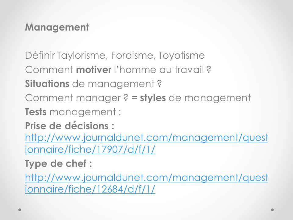 Management Définir Taylorisme, Fordisme, Toyotisme Comment motiver lhomme au travail ? Situations de management ? Comment manager ? = styles de manage