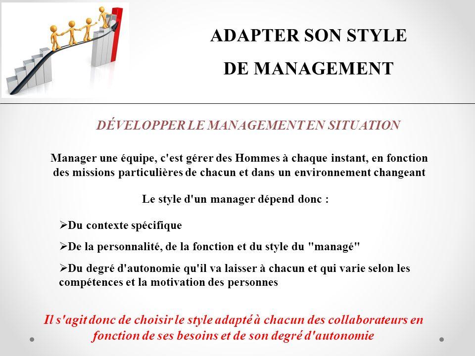 ADAPTER SON STYLE DE MANAGEMENT DÉVELOPPER LE MANAGEMENT EN SITUATION Manager une équipe, c'est gérer des Hommes à chaque instant, en fonction des mis