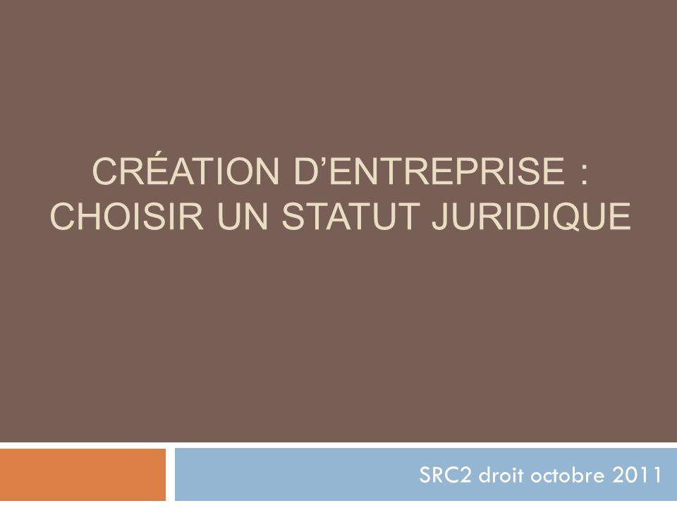 CRÉATION DENTREPRISE : CHOISIR UN STATUT JURIDIQUE SRC2 droit octobre 2011