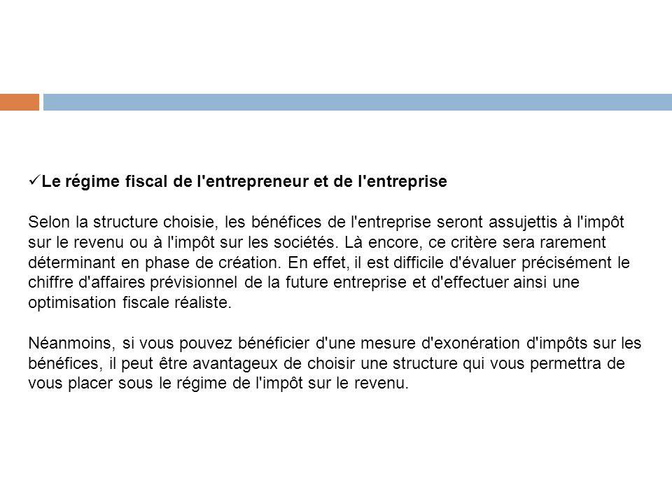 Le régime fiscal de l'entrepreneur et de l'entreprise Selon la structure choisie, les bénéfices de l'entreprise seront assujettis à l'impôt sur le rev