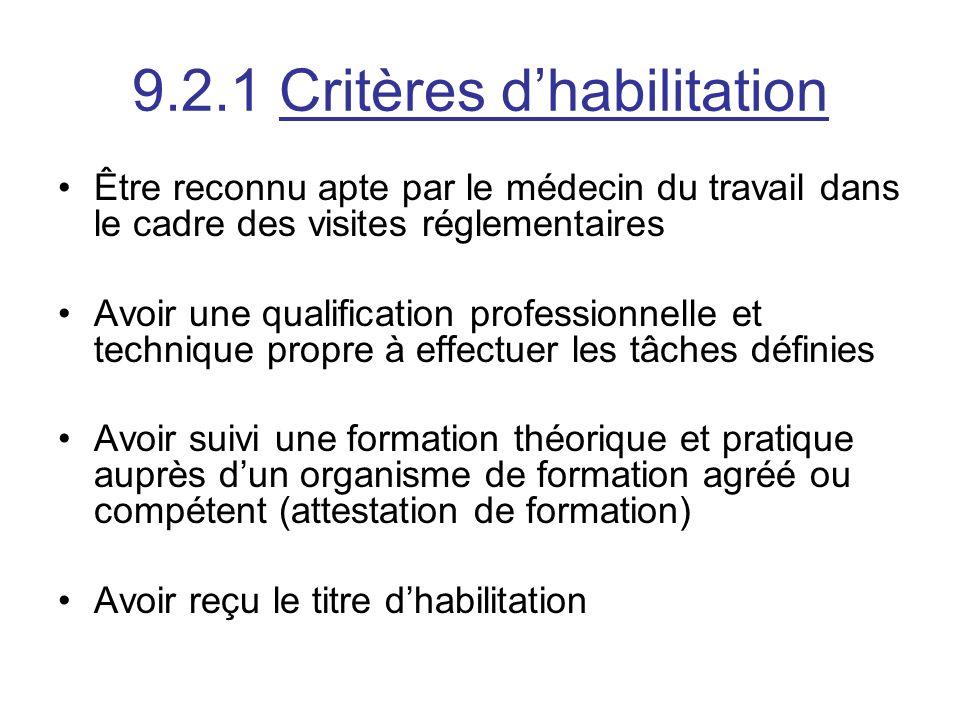 9.2.1 Critères dhabilitation Être reconnu apte par le médecin du travail dans le cadre des visites réglementaires Avoir une qualification professionne