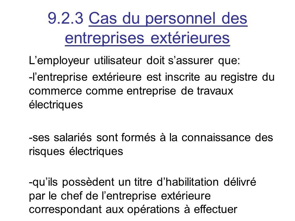 9.2.3 Cas du personnel des entreprises extérieures Lemployeur utilisateur doit sassurer que: -lentreprise extérieure est inscrite au registre du comme