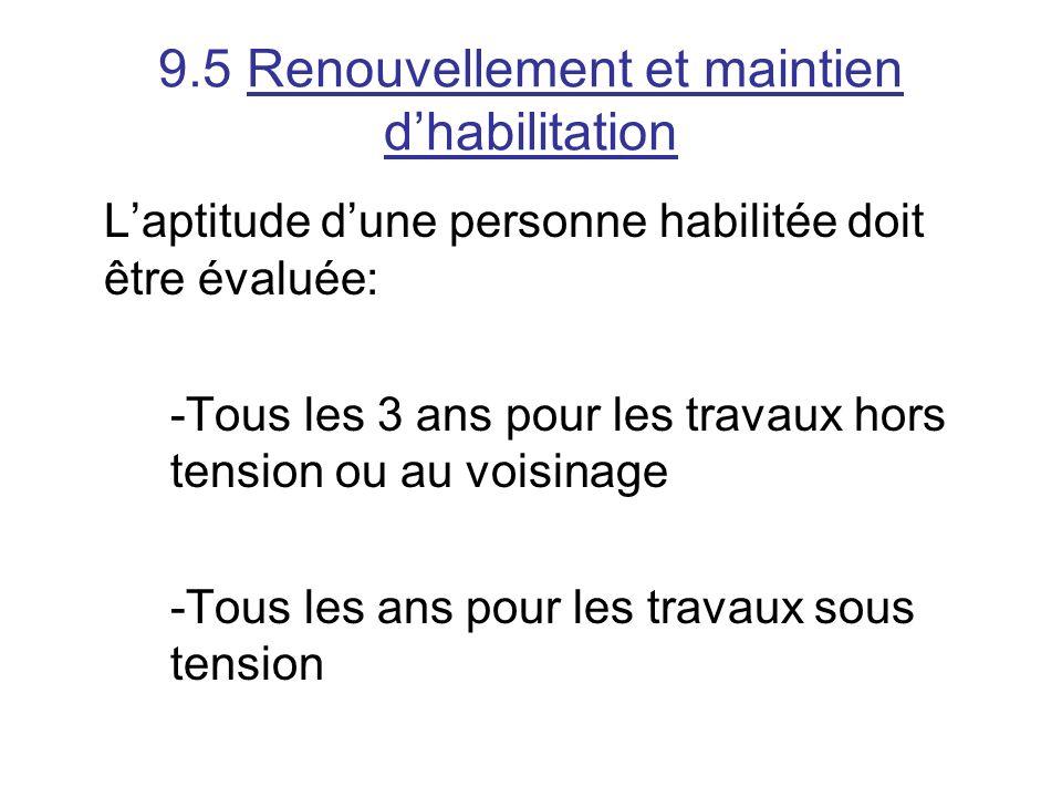 9.5 Renouvellement et maintien dhabilitation Laptitude dune personne habilitée doit être évaluée: -Tous les 3 ans pour les travaux hors tension ou au