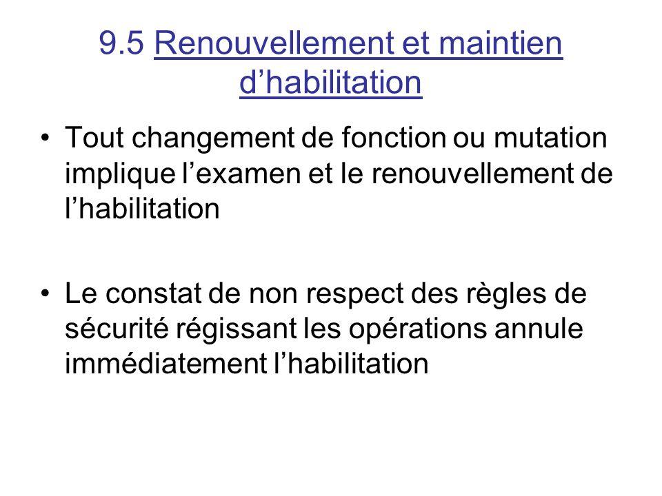 9.5 Renouvellement et maintien dhabilitation Tout changement de fonction ou mutation implique lexamen et le renouvellement de lhabilitation Le constat