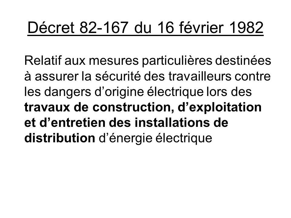 Décret 82-167 du 16 février 1982 Relatif aux mesures particulières destinées à assurer la sécurité des travailleurs contre les dangers dorigine électr