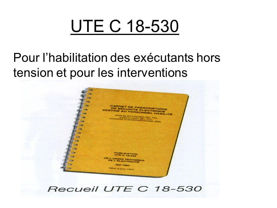 UTE C 18-530 Pour lhabilitation des exécutants hors tension et pour les interventions