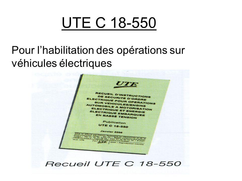 UTE C 18-550 Pour lhabilitation des opérations sur véhicules électriques