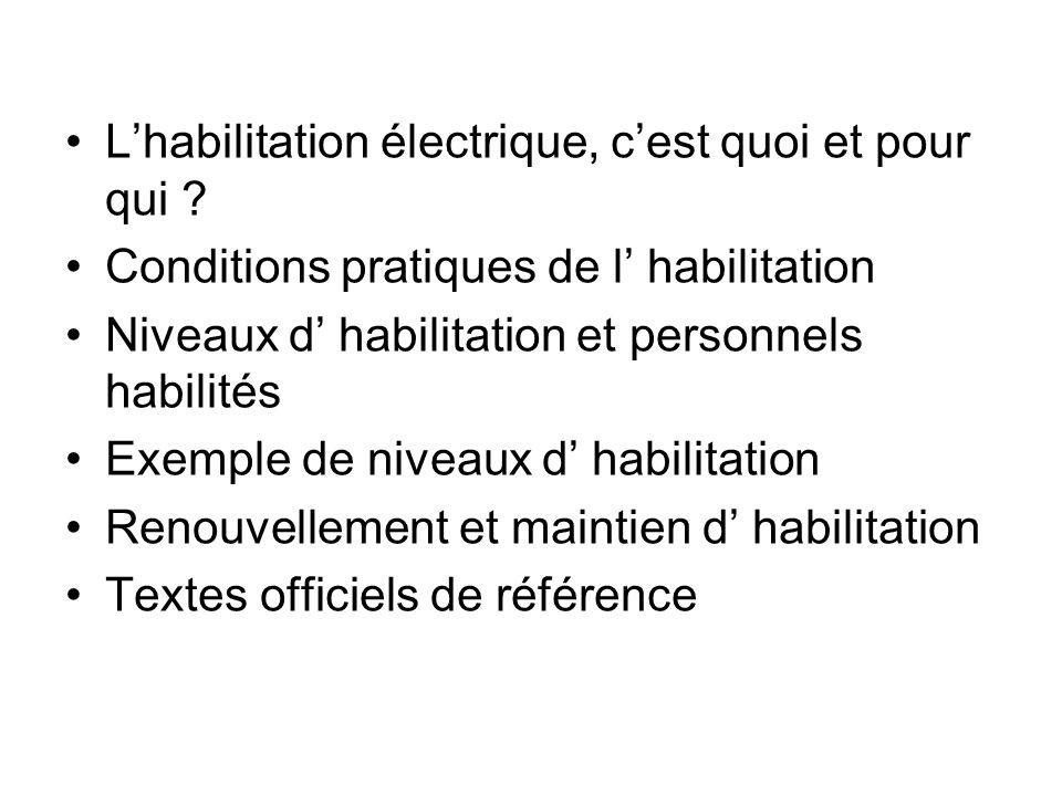 Lhabilitation électrique, cest quoi et pour qui ? Conditions pratiques de l habilitation Niveaux d habilitation et personnels habilités Exemple de niv