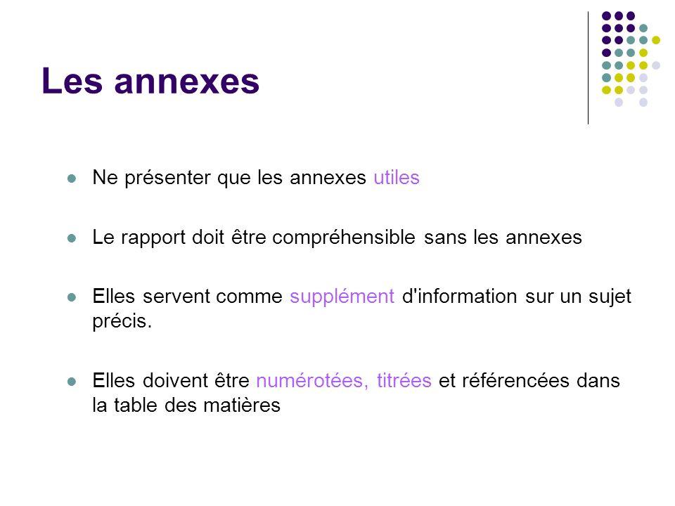Les annexes Ne présenter que les annexes utiles Le rapport doit être compréhensible sans les annexes Elles servent comme supplément d'information sur