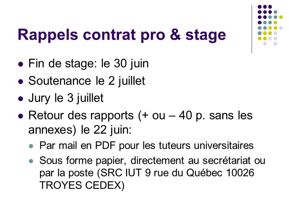 Rappels contrat pro & stage Fin de stage: le 30 juin Soutenance le 2 juillet Jury le 3 juillet Retour des rapports (+ ou – 40 p. sans les annexes) le