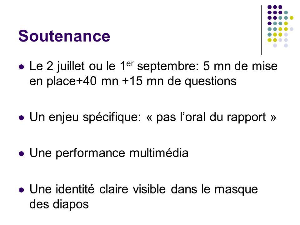 Soutenance Le 2 juillet ou le 1 er septembre: 5 mn de mise en place+40 mn +15 mn de questions Un enjeu spécifique: « pas loral du rapport » Une perfor