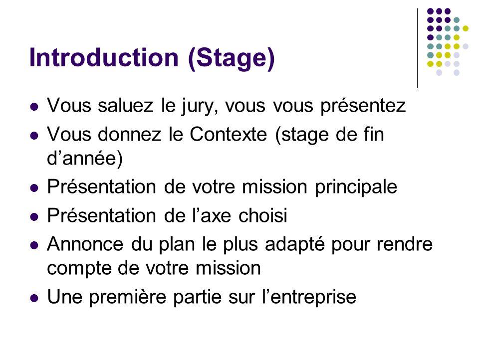 Introduction (Stage) Vous saluez le jury, vous vous présentez Vous donnez le Contexte (stage de fin dannée) Présentation de votre mission principale P