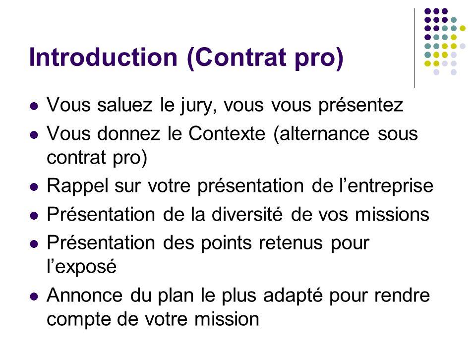 Introduction (Contrat pro) Vous saluez le jury, vous vous présentez Vous donnez le Contexte (alternance sous contrat pro) Rappel sur votre présentatio