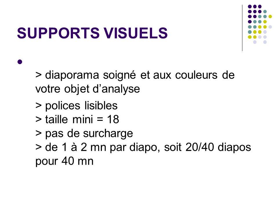 SUPPORTS VISUELS > diaporama soigné et aux couleurs de votre objet danalyse > polices lisibles > taille mini = 18 > pas de surcharge > de 1 à 2 mn par