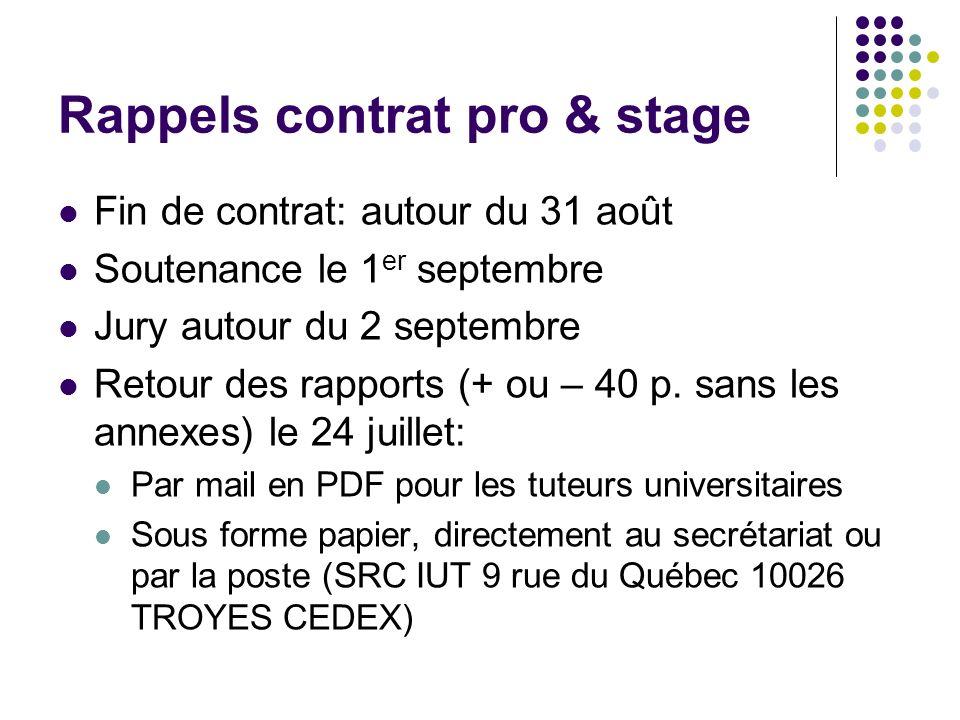Rappels contrat pro & stage Fin de contrat: autour du 31 août Soutenance le 1 er septembre Jury autour du 2 septembre Retour des rapports (+ ou – 40 p