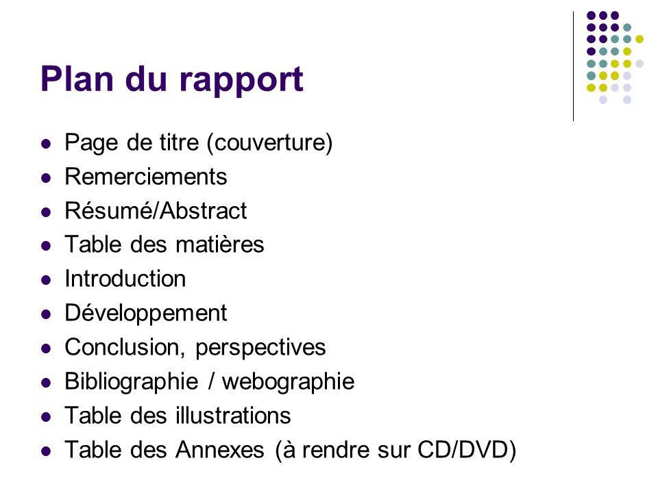 Plan du rapport Page de titre (couverture) Remerciements Résumé/Abstract Table des matières Introduction Développement Conclusion, perspectives Biblio