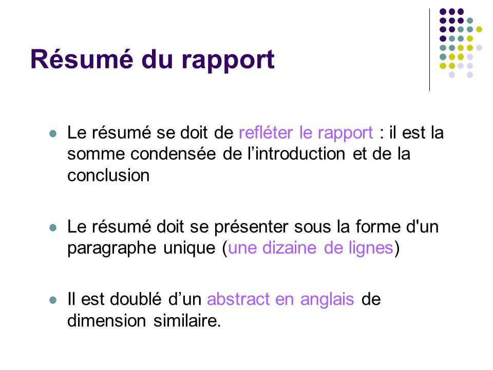 Résumé du rapport Le résumé se doit de refléter le rapport : il est la somme condensée de lintroduction et de la conclusion Le résumé doit se présente